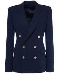 Ralph Lauren Collection Camden ウールクレープジャケット - ブルー