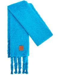 Loewe Schal Aus Mohairmischung - Blau