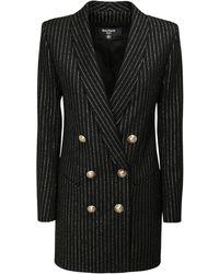 Balmain Платье-пиджак Из Смешанной Шерсти - Черный
