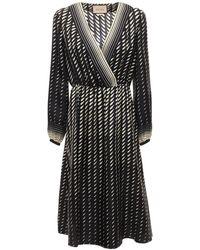 Gucci Printed Silk Dress W/ Scarf - Black