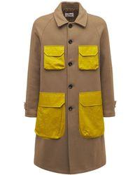 LC23 Wool & Nylon Coat - Brown
