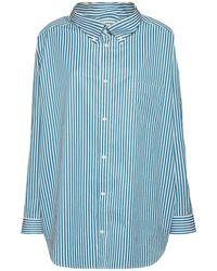Balenciaga Oversized Hemd Aus Baumwollpopeline Mit Streifen - Blau