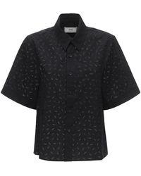 AMI アイレットレースコットンポプリンシャツ - ブラック