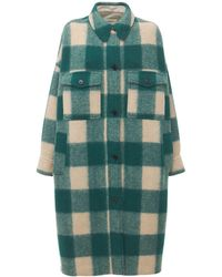Étoile Isabel Marant Fontizi Check Felted Long Shirt Coat - Green
