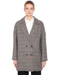 RED Valentino - Double Breasted Wool Houndstooth Coat - Lyst