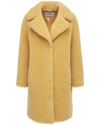 Stand Studio Camille Cocoon Faux Fur Teddy Coat - Natural