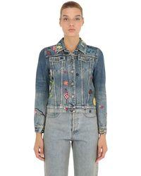 Gucci 刺繍パッチ付き コットンデニムジャケット - ブルー