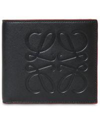 Loewe Brieftasche Aus Geprägtem Leder Mit Logo - Schwarz