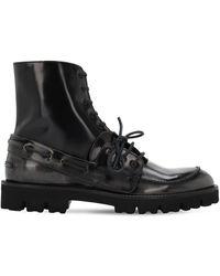 Maison Margiela Кожаные Ботинки На Шнурках - Черный