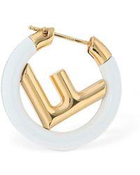 Fendi 25mm Small Logo Circle F Mono Earring - Metallic