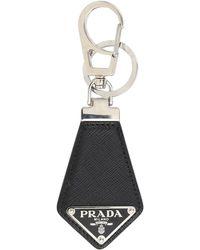 Prada - Schlüsselanhänger Aus Saffianoleder Mit Logo - Lyst