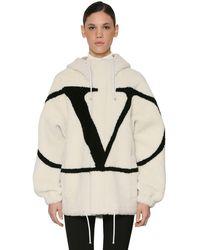 Valentino Vlogo Intarsia Hooded Shearling Jacket - Multicolor