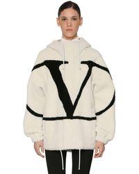 Valentino Vlogo Intarsia Hooded Shearling Jacket - Multicolour