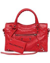 Balenciaga Mini City Leather Strap Logo Bag - Red