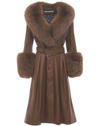 Saks Potts Foxy Leather Coat W/ Fox Fur - Brown