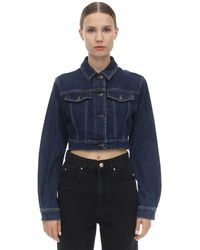 Moschino - Bear Logo Cropped Cotton Denim Jacket - Lyst