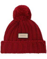 Gucci Gestrickte Wollmütze - Rot