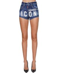 DSquared² Shorts De Denim Con Estampado - Azul