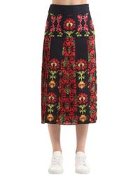 Stella Jean Woman Pleated Printed Stretch Cotton-twill Midi Skirt Midnight Blue Size 42 Stella Jean Outlet Sale Online 2dd4EW6
