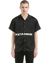 HELIOT EMIL Stapled Ketamine Print Satin Shirt - Black