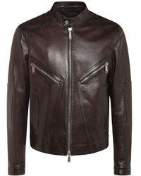 DSquared² Leather Biker Jacket - Brown
