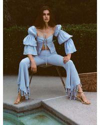 Cult Gaia Claire Draped Linen Shirt - Blau