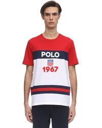Polo Ralph Lauren Logo Color Block Cotton Jersey T-shirt - Rot