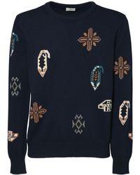 Etro Sweater Aus Wollstrickjacquard - Blau