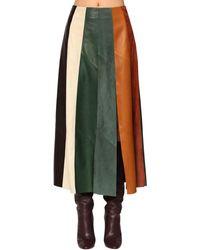 Ferragamo Patchwork Leather Midi Skirt - Multicolor