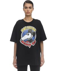 Moschino Oversize Printed Cotton Jersey T-shirt - Черный