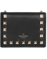 """Valentino Brieftasche Aus Leder """"rockstud"""" - Schwarz"""