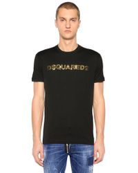 DSquared² - Sequined Logo Cotton Jersey T-shirt - Lyst