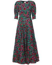 RIXO London Длинное Платье С Цветочным Принтом - Многоцветный
