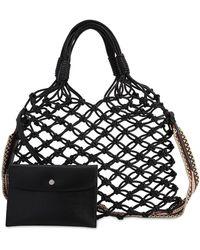 Stella McCartney Bolso shopper con correa removible y diseño de nudos - Negro