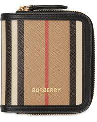 Burberry Allington Icon Stripe キャンバスウォレット - ブラック