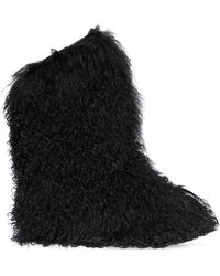 Saint Laurent - 20mm Furry Mongolian Fur Snow Boots - Lyst