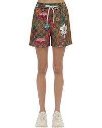 Gucci Shorts In Felpa Stampa Gg Supreme & Flora - Multicolore