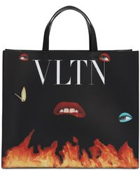 Valentino Vltn Flame レザートートバッグ - ブラック