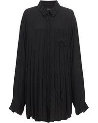 Balenciaga Рубашка Из Хлопкового Крепа - Черный