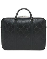 Gucci Портфель Из Тисненой Кожи - Черный