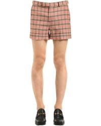 Gucci - Checked Wool Blend Shorts - Lyst