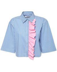 MSGM Hemd Aus Popeline Mit Streifen - Blau