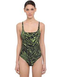 Ganni Badeanzug Mit Tigerdruck - Grün