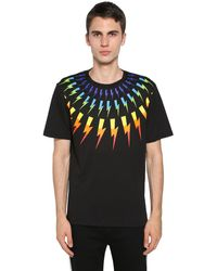 Neil Barrett Rainbow Bolt Print Cotton Jersey T-shirt - Black