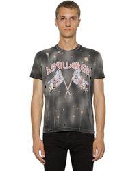 DSquared² T-shirt Aus Baumwolle Mit Druck Und Rissen - Schwarz