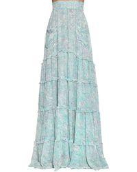 Luisa Beccaria Long Floral Print Georgette Skirt - Blue