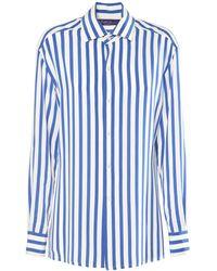 Ralph Lauren Collection Chemise En Crêpe De Chine De Soie Avec Imprimé - Bleu