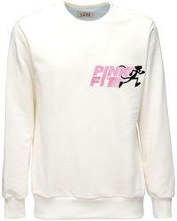 LC23 Pink Fit Cotton Crewneck Sweatshirt - White