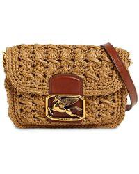 Etro Viscose & Leather Mini Pegaso Bag - Natural