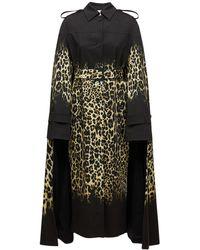 Roberto Cavalli Printed Cotton Gabardine Trench Coat - Black